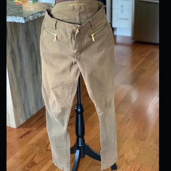 Michael Kors Denim - Michael Kors Brown Jeans w Gold Zippers